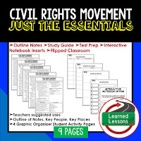 Civil Rights Movement,  American History Outline Notes, American History Test Prep, American History Test Review, American History Study Guide, American History Summer School, American History Unit Reviews, American History Interactive Notebook Inserts
