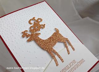 Weihnachtskarte mit Stampin' Up! Weihnachtshirsch glitzerpapier weihnachtszeit weihnachtshirsch thinlits weihnachtswild savanne transparentpapier chili espresso