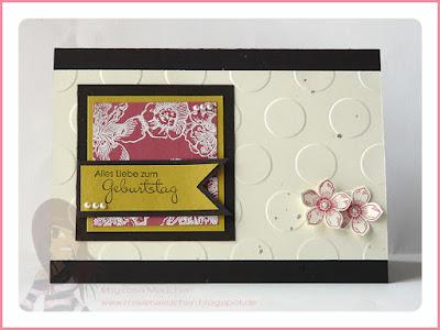 Stampin' Up! rosa Mädchen Kulmbach: Swapcycling Geburtstagskarte mit Punkten und Blumen