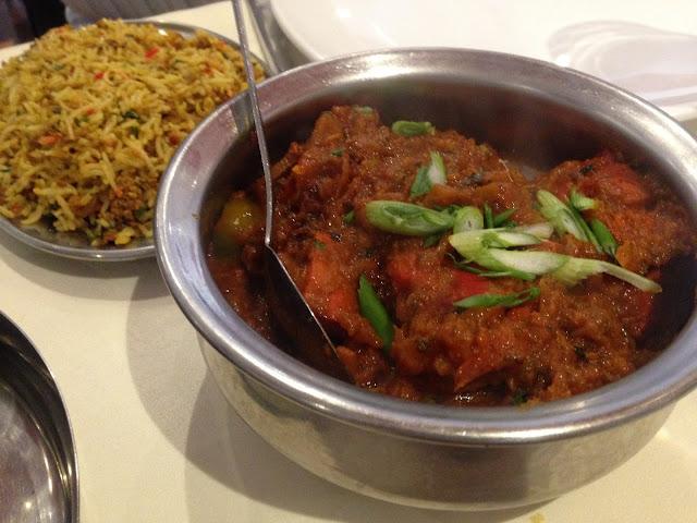 lamb sylheti curry and mushroom rice