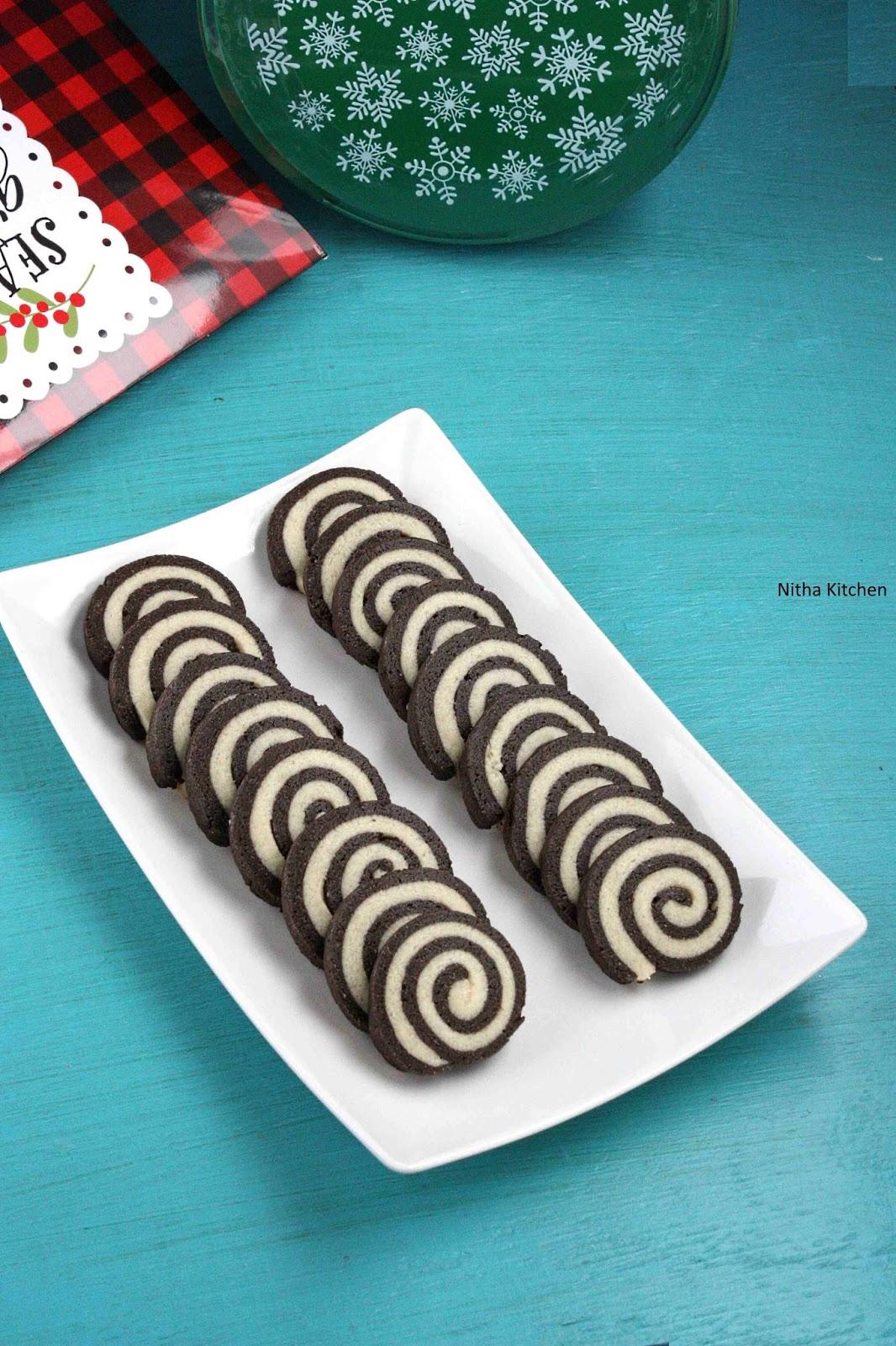 An Eggless Easy Pinwheel Cookies | Merry Christmas - Nitha Kitchen
