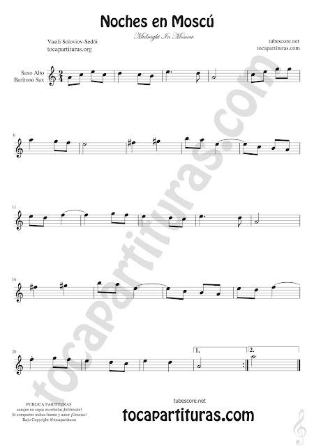 Saxofón Alto y Sax Barítono Partitura de Noches en Moscú Sheet Music for Alto Saxophone