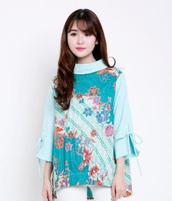Baju Batik Kombinasi Polos Elegan