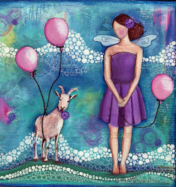 mixed media, girl and goat, paintings, Jenny Blair