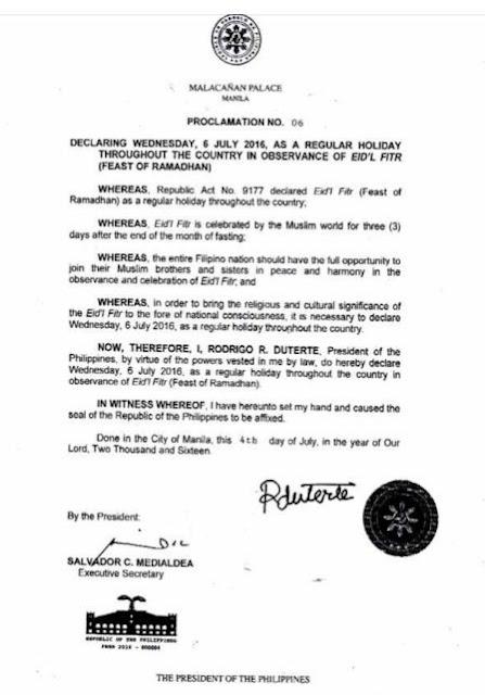 July 6 2016 holiday ramadan 2016 Philippines