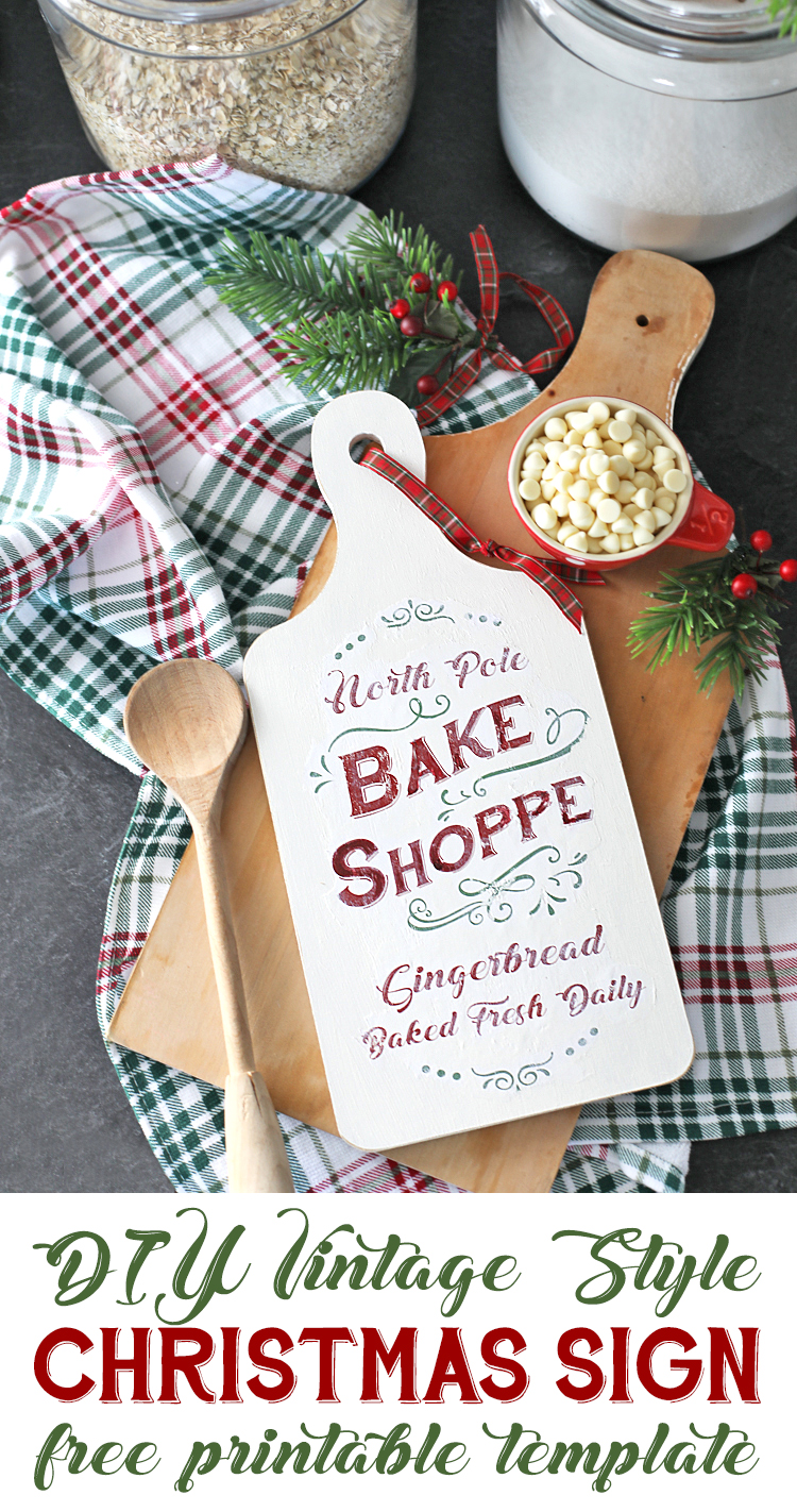 DIY Christmas Sign with free printable template. Love this adorable vintage style typography. North Pole Bake Shoppe Christmas Kitchen Sign #christmas #handmadewithjoann