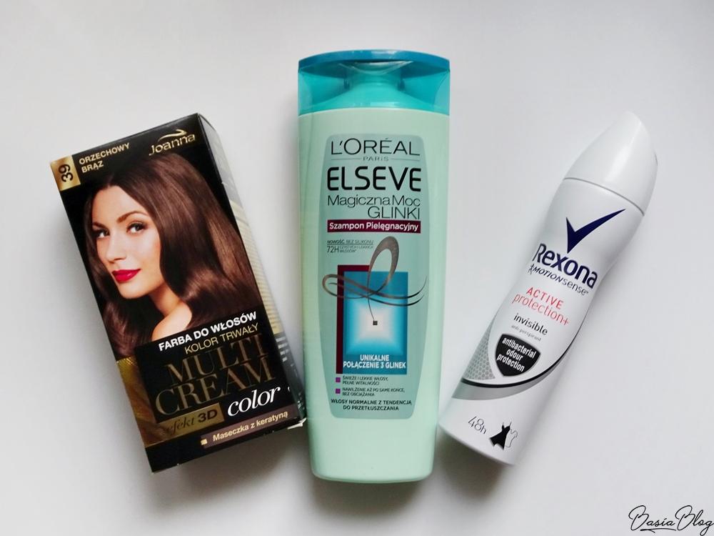 L'Oreal szampon 3 glinki, Joanna Multi Cream, Rexona Active Protection antyperspirant