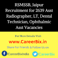 RSMSSB, Jaipur Recruitment for 2639 Asst Radiographer, LT, Dental Technician, Ophthalmic Asst Vacancies