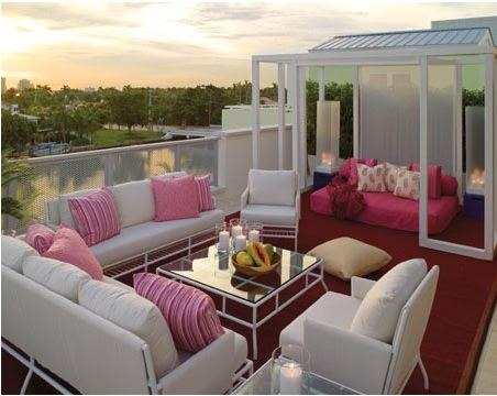 rooftop decor design pink white
