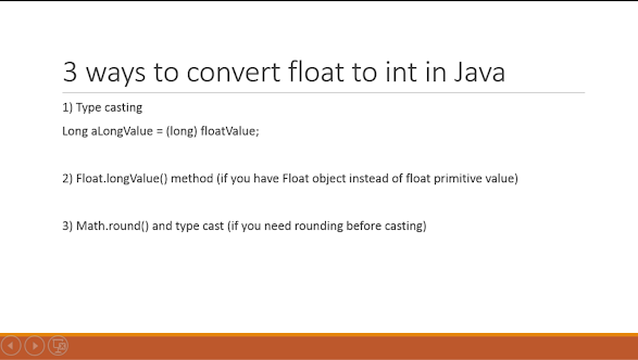How to convert float to int in Java example