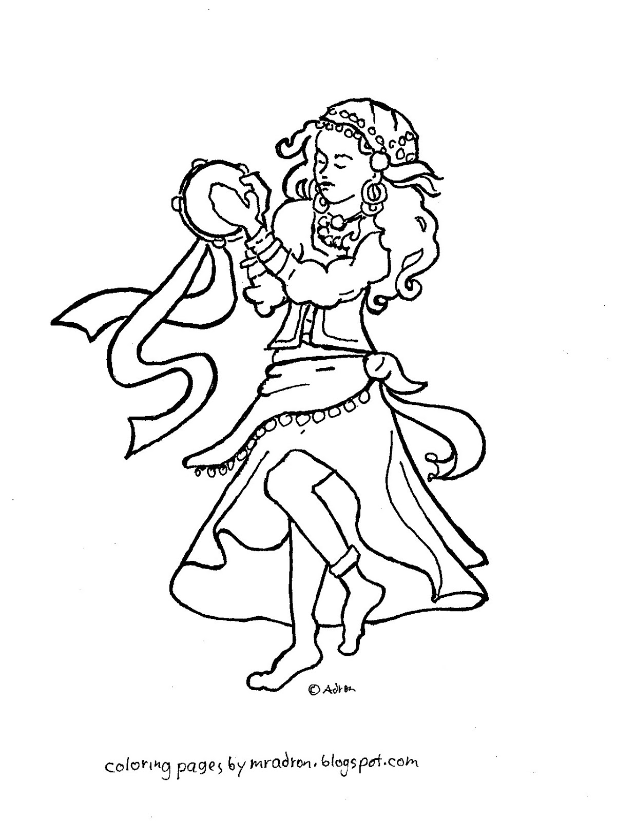 gypsy coloring pages | Coloring Pages for Kids by Mr. Adron: Esmeralda the Gypsy ...