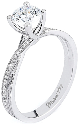 Michael M. twist shank diamond engagement ring.