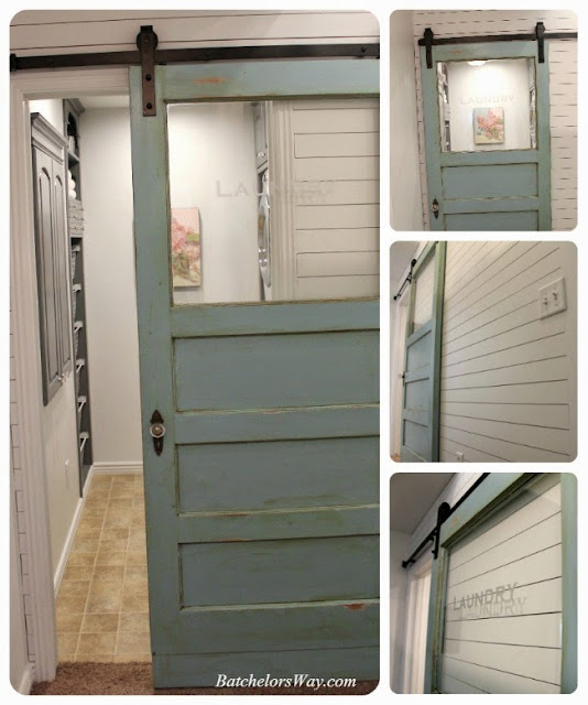 blue old vintage door with window is transformed into sliding door