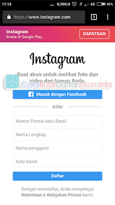 buat akun instagram lewat google