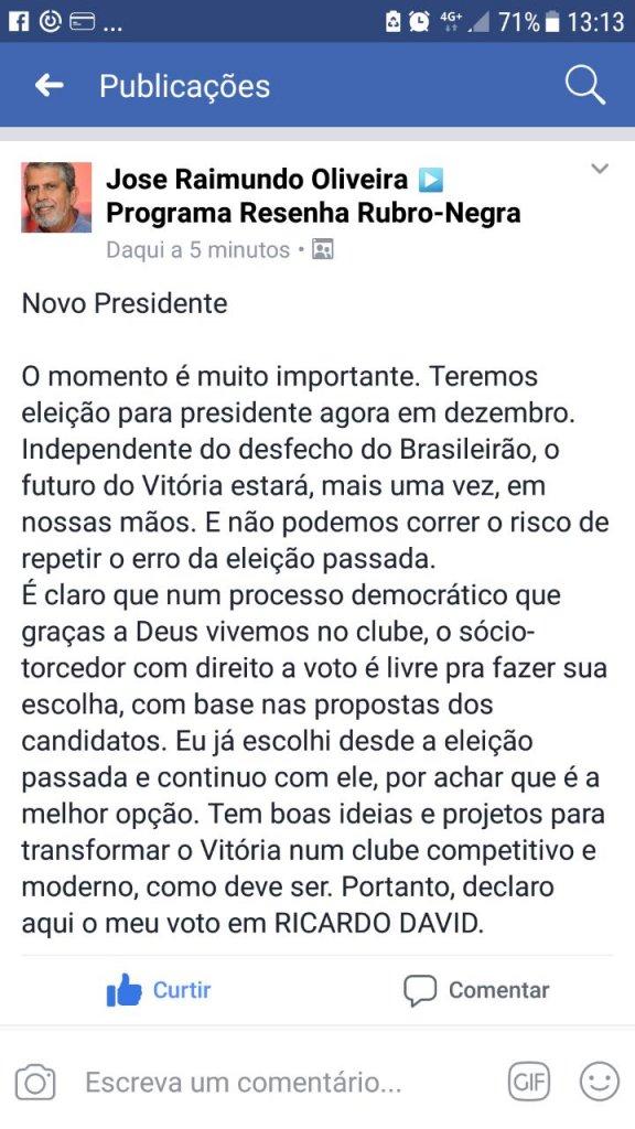 Jornalista e torcedor do Vitória, Jose Raimundo revela qual será seu voto nas próximas eleições do Vitória 2