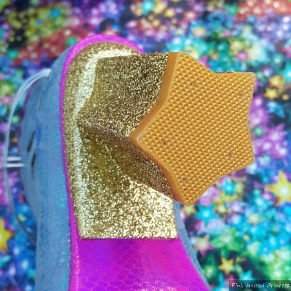 gold glitter star shaped heel on boot