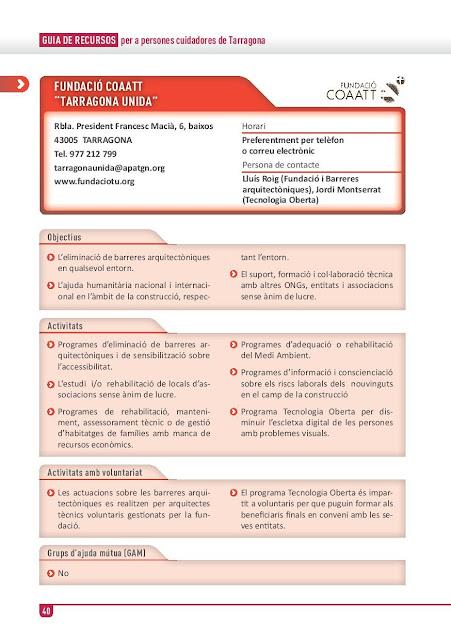 Xarxa de Suport a les Famílies Cuidadores de Tarragona: Fundació COAATT del  Col·legi d'Aparelladors Arquitectes Tècnics i Enginyers d'Edificació de Tarragona