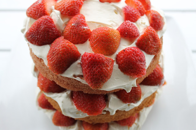 Triple layer ombre Victoria Sponge cake strawberries cream