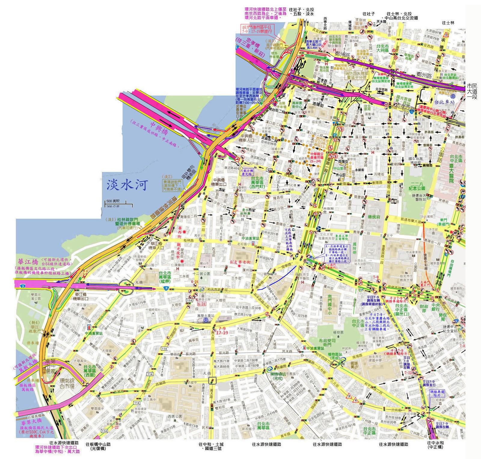黃民彰的網站--Taiwan Taipei: 臺北市環河快速道路南段,總統府週邊簡圖
