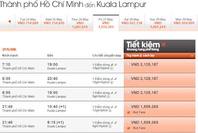 Giá vé máy bay đi Kuala Lumpur hãng Jetstar