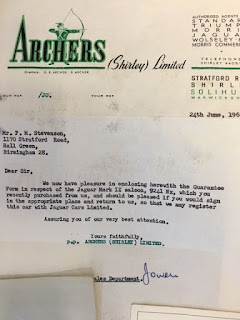 Archers (Shirley) Limited letter 24 June 1961