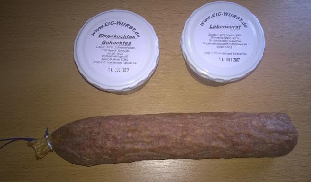 Eingekochtes Gehacktes, Leberwurst, Stracke
