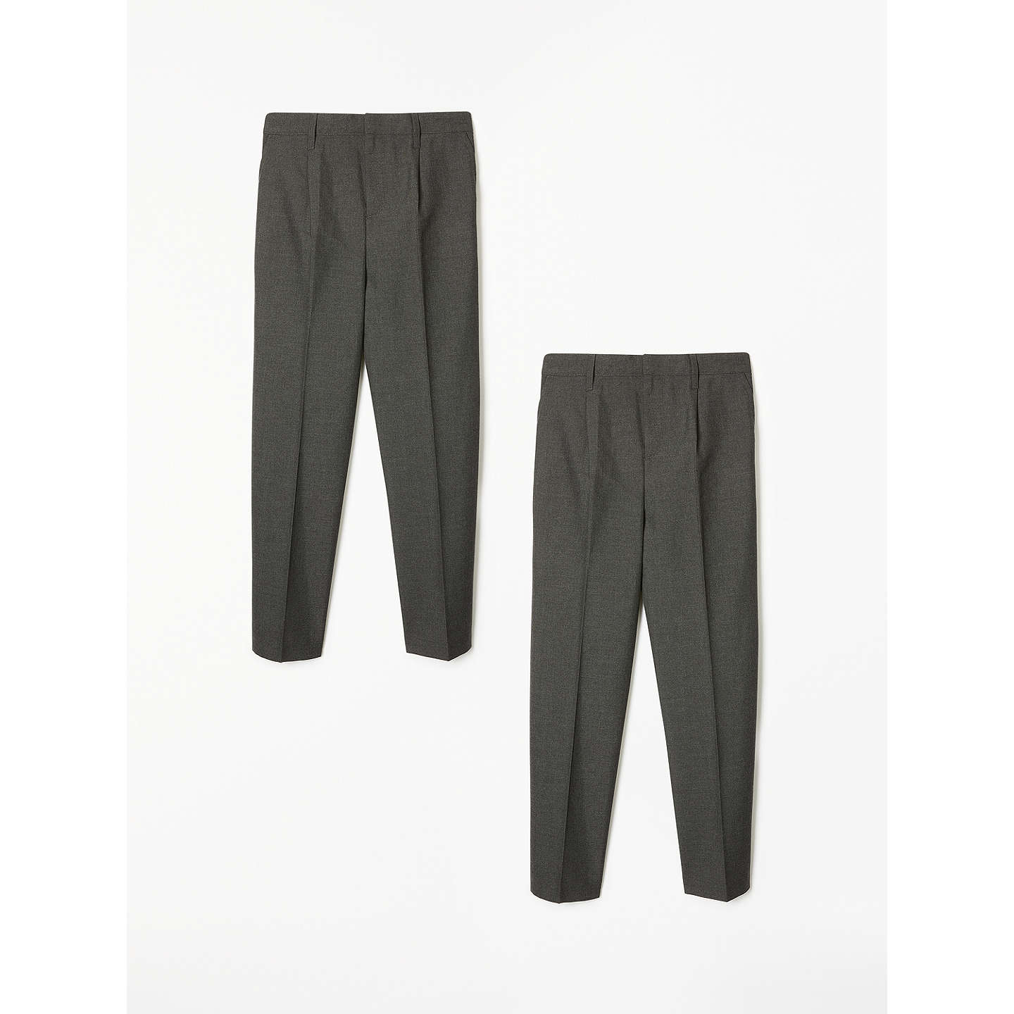 abfd5a9827 These John Lewis basics adjustable waist boys school trousers in a 2 pack  only come in grey and cost between £10-£16. The age range is from 3-16  years.