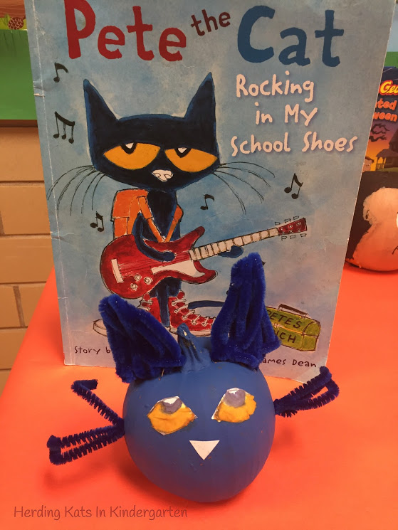 Pete The Cat Character Pumpkin Made With Paint, Paper And Pipe Cleaners!