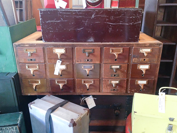 Vintage wood card catalog
