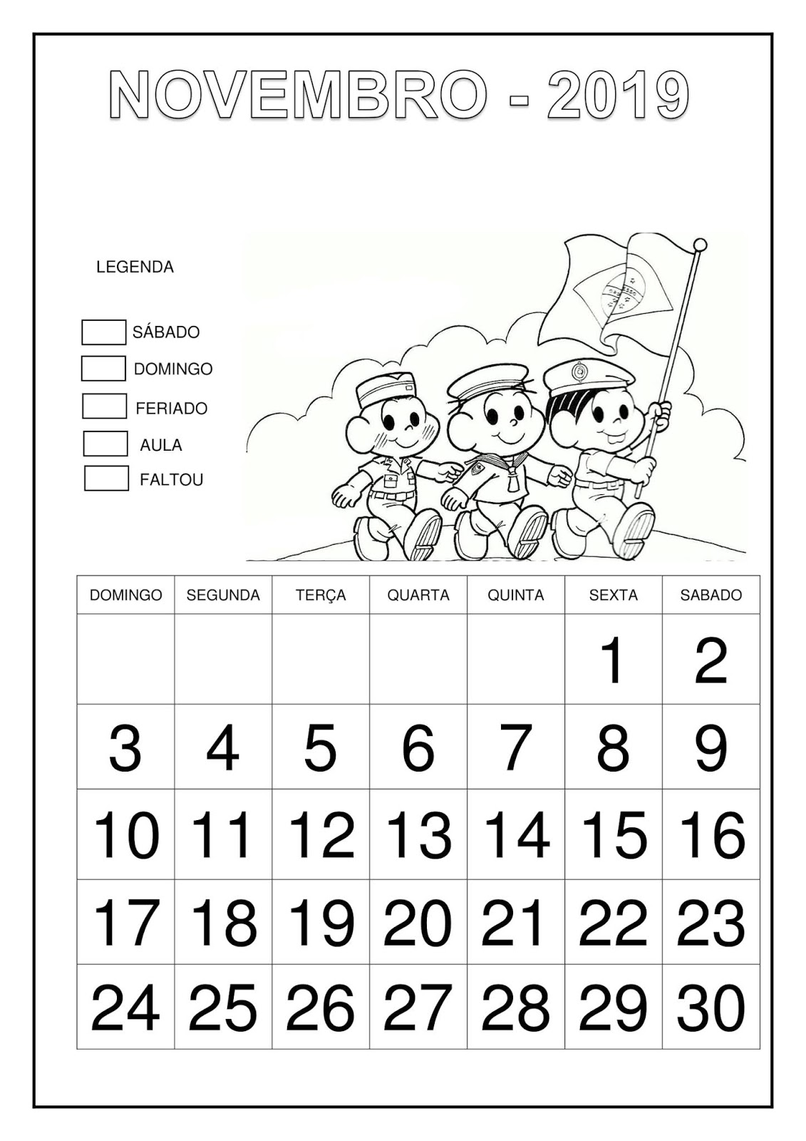 Calendário 2019 - Turma da Mônica