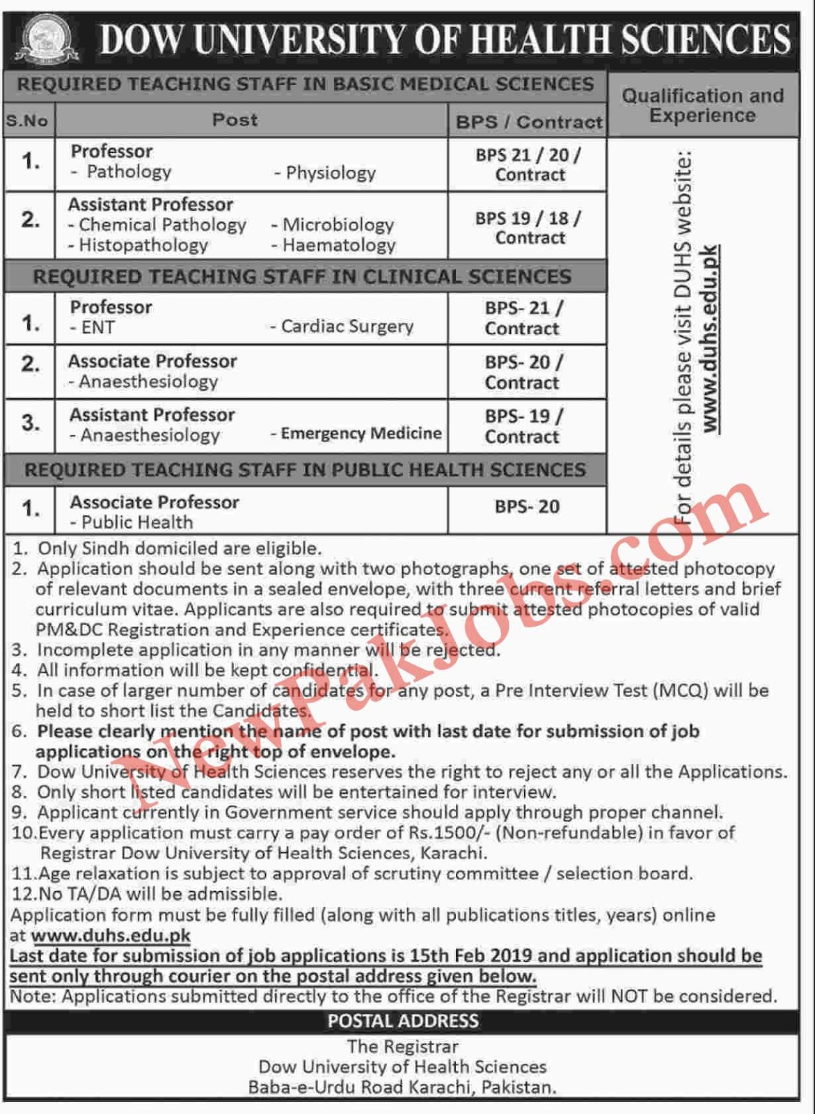 DOW University of Health Sciences Jobs 2019