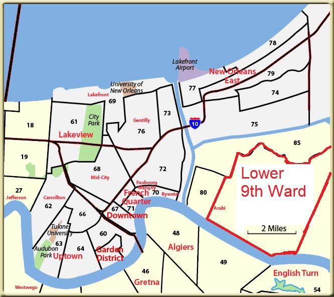 Wards New Orleans Map