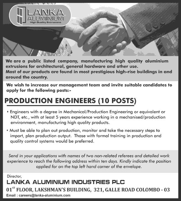 Vacancies] Production Engineers - Lanka Aluminum Industries