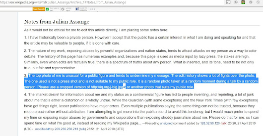 "Assange Complaint: Wikipedia Photo of Him Is ""Unusual for a Public Figure"""