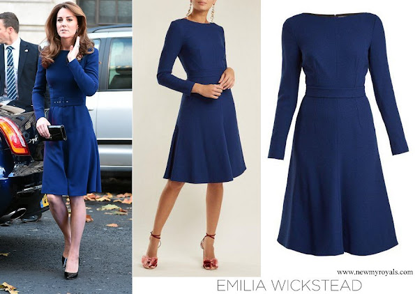 Kate Middleton wore EMILIA WICKSTEAD Kate A-Line Wool Crepe Dress in Navy-Blue