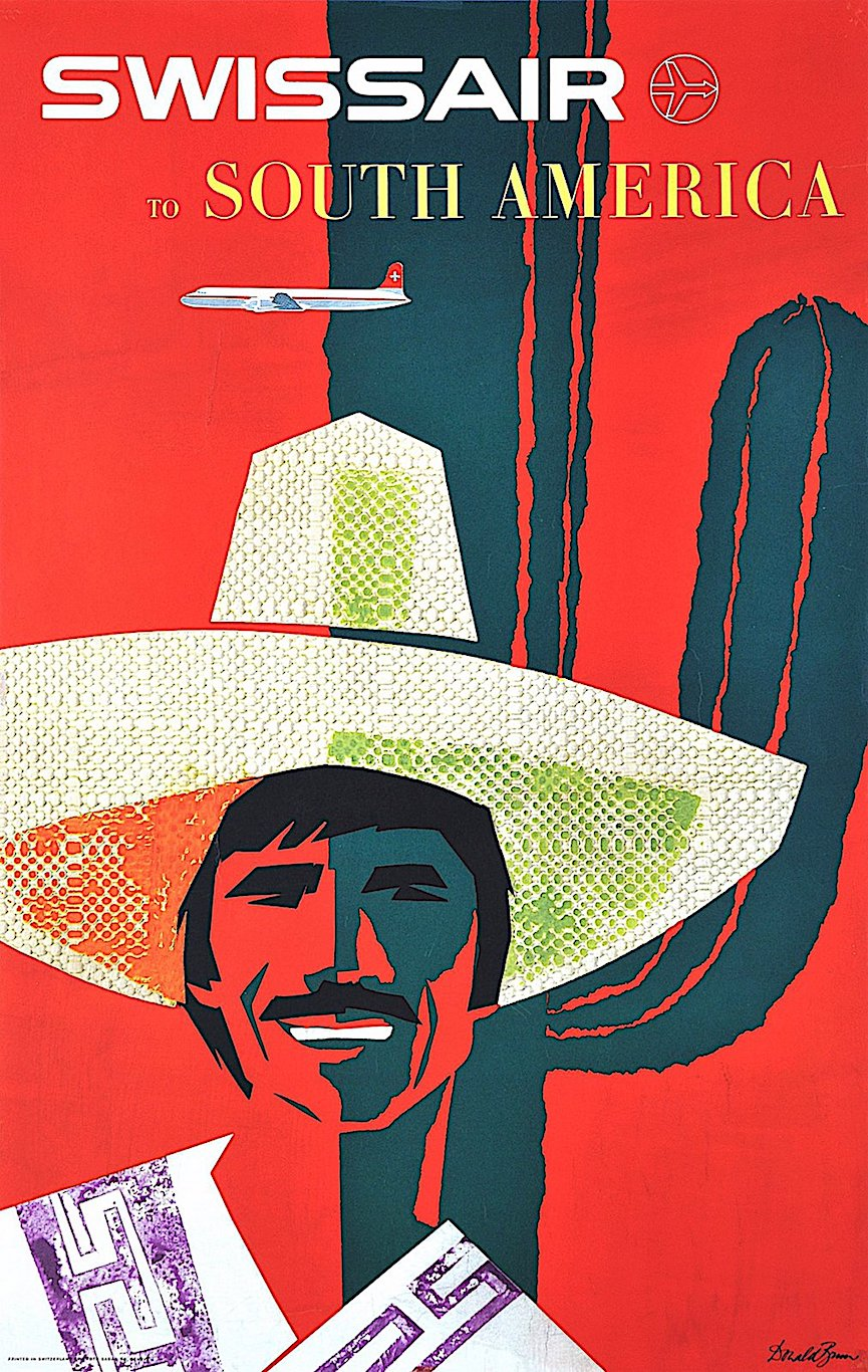 a 1958 Donald Brun poster for SwissAir to South America, red with cool green cactus and citrus colors