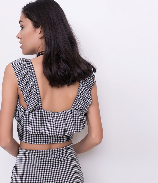 Moda Blusa Cropped Xadrez