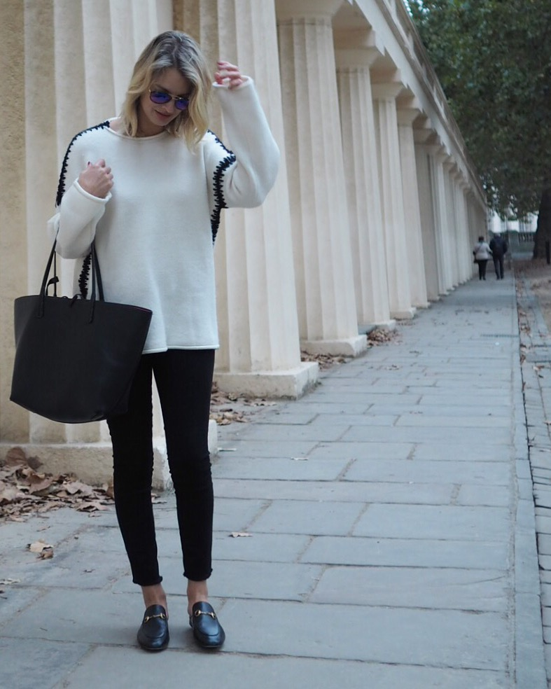 monochrome look, chunky knit, gucci loafers, gucci princetown slippers, london street style