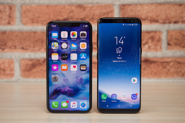 iPhone X and Samsung Galaxy S9