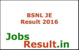 BSNL JE Result 2016