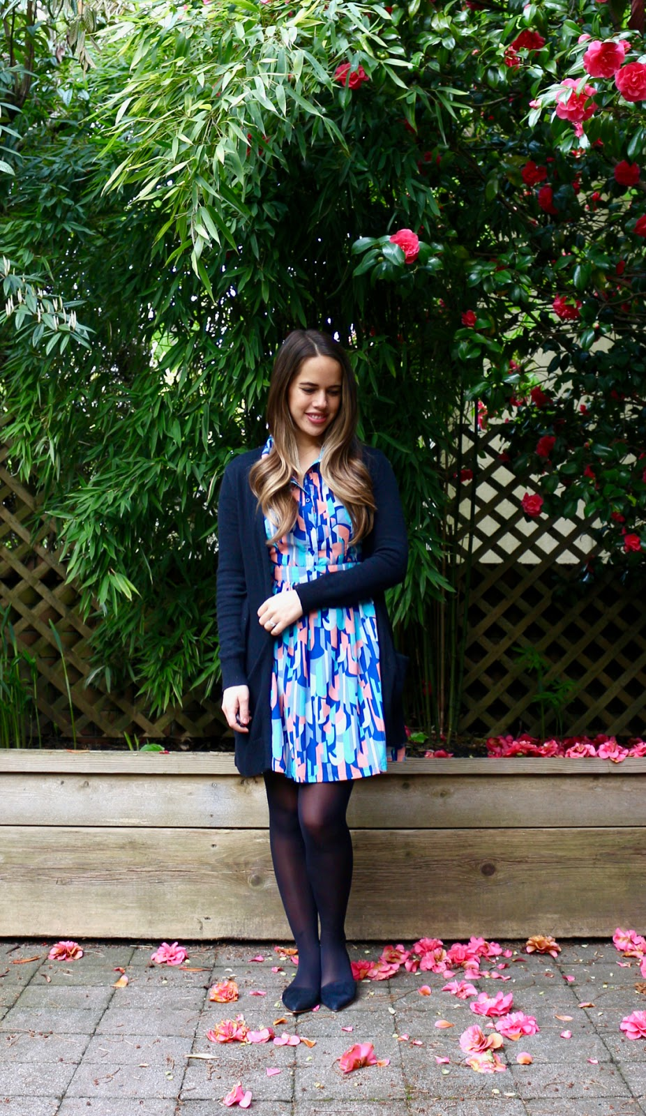 Jules in Flats - Collared Dress with Cardigan (Business Casual Spring Workwear on a Budget)