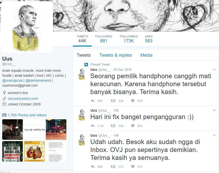 Rizky Firdaus Wijaksana yang akrab dipanggil Uus, Diberhentikan dari Program Inbox dan OVJ lantaran nyinyiran Twitter