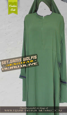 Set Gamis Wolfis Casual Olive