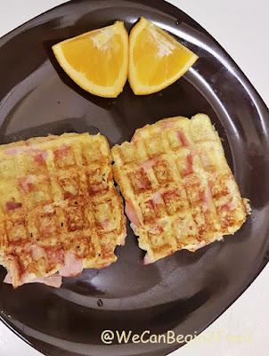 Cauliflower Ham Waffles