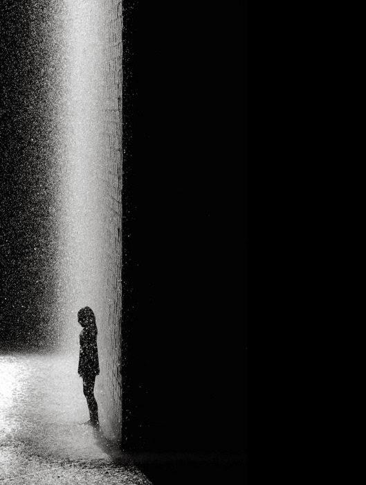 Sad Girl Standing Alone In The Rain