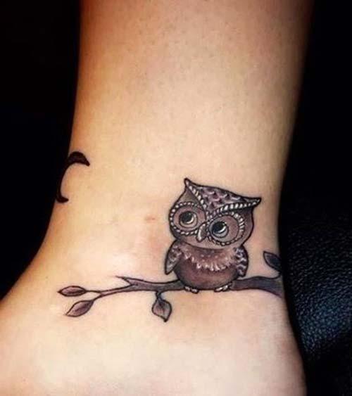 ankle owl tattoo ayak bileği baykuş dövmesi