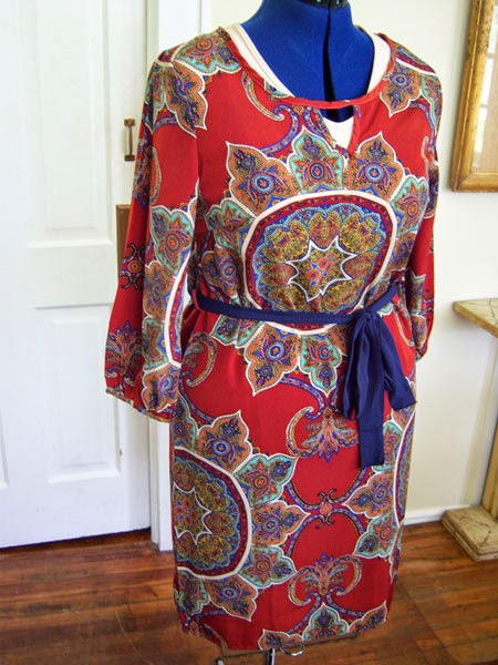 Ezra - Mitchel Paisley Print Belted Shift Dress