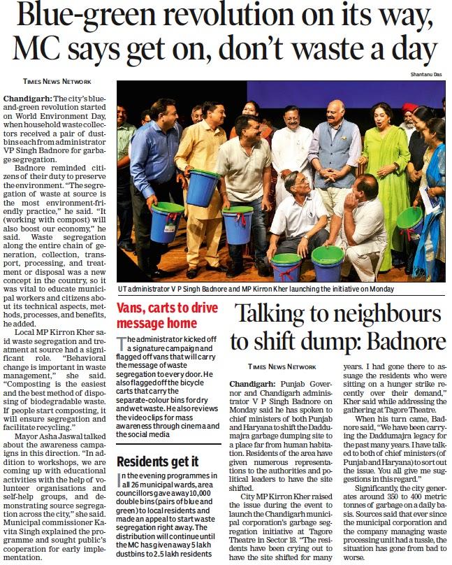 UT administrator V P Singh Badnore, MP Kirron Kher & Ex-MP Satya Pal Jain launching the initiative on Monday
