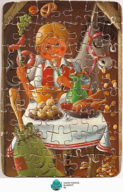ГДР игры. Пазл советский мальчик за столом, улыбка, ослик, осёл, пир, ест пазл ГДР, немецкий. Пазл ГДР Сказки братьев Гримм, Германская Демократическая республика, DDR.