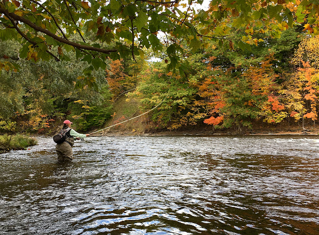 Sam Decker casting her Seele rod in the Douglaston Salmon Run, Pulaski, NY